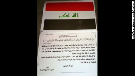 An image of the leaflet dropped in Mosul by Iraqi forces. (CNN/Iraqi Joint Operations Command)