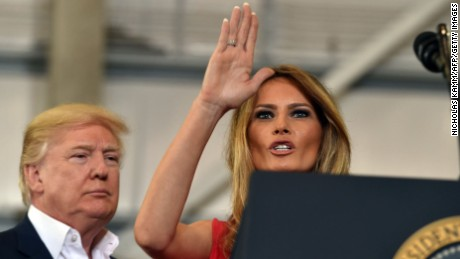 US President Donald Trump and First Lady Melania Trump arrive for a rally on February 18, 2017 in Melbourne, Florida.     / AFP / Nicholas Kamm        (Photo credit should read NICHOLAS KAMM/AFP/Getty Images)