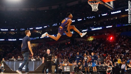 Indian Pacers Glenn Robinson III participates in the slam dunk contest during NBA All-Star Saturday Night events in New Orleans, Saturday, Feb. 18, 2017. (AP Photo/Gerald Herbert)