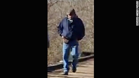 Indiana State Police circulated this photo of a man who is believed to be a suspect in the double homicide.