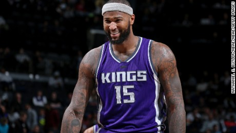 BROOKLYN, NY - NOVEMBER 27:  A close up shot of DeMarcus Cousins #15 of the Sacramento Kings smiling during the game against the Brooklyn Nets on November 27, 2016 at Barclays Center in Brooklyn, NY. NOTE TO USER: User expressly acknowledges and agrees that, by downloading and/or using this Photograph, user is consenting to the terms and conditions of the Getty Images License Agreement. Mandatory Copyright Notice: Copyright 2016 NBAE (Photo by Nathaniel S. Butler/NBAE via Getty Images)