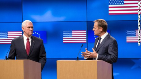 US Vice-President Mike Pence (L) and European Council head Donald Tusk (R) give a press conference at the European Commission in Brussels on February 20, 2017. The European Union counts on getting the same complete support from the Trump adminstration as from its predecessors, European Council head Donald Tusk said on February 20.  / AFP / POOL / Virginia Mayo        (Photo credit should read VIRGINIA MAYO/AFP/Getty Images)