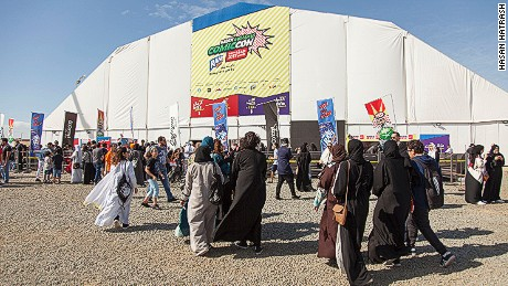 People arrive at Saudi Arabia's first Comi Con.