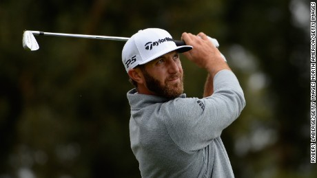PACIFIC PALISADES, CA - FEBRUARY 19:  Dustin Johnson plays his shot from the 14th tee during a continuation of the third round at the Genesis Open at Riviera Country Club on February 19, 2017 in Pacific Palisades, California.  (Photo by Robert Laberge/Getty Images)