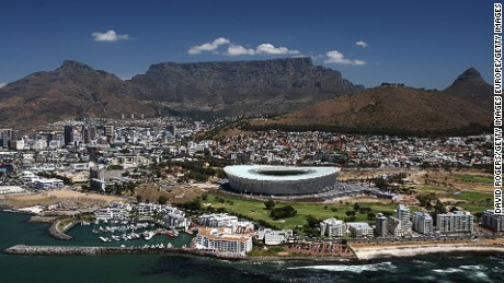 An aerial view of the Green Point Stadium in Cape Town, South Africa.