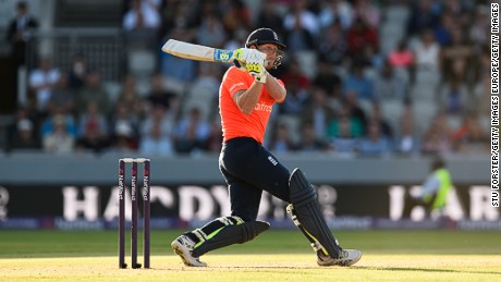 England's Ben Stokes smashes a ball to the boundary in a Twenty 20 game against New Zealand in 2015