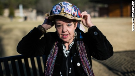"""The only right thing to do was get behind the guy who won the race,"" said Judy Griffin, pictured here in Woodstock City Park outside of Atlanta"