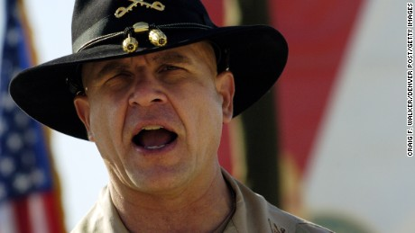 Lt. Col H. R. McMaster, Commander of the 3rd ACR address the troops during during an Uncasing ceremony at Camp Striker, in Iraq.