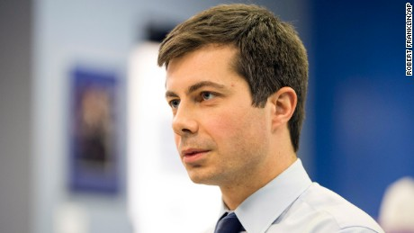Mayor Pete Buttigieg of South Bend, Indiana, talks to a reporter on January 4, about the race for chairman of the Democratic National Committee.