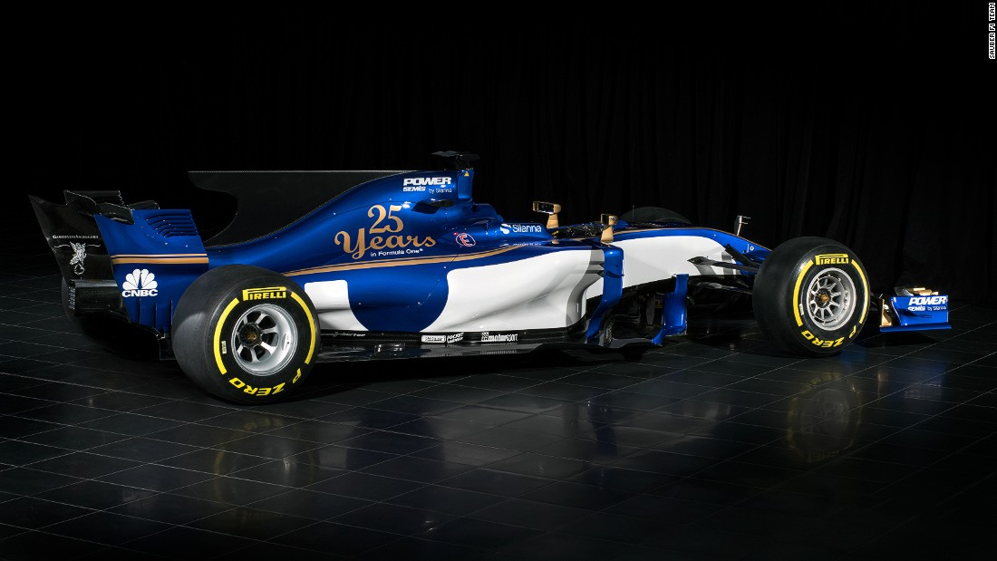 Swiss-based Sauber is celebrating its 25th year in F1 -- as can be seen in the gold lettering on its new blue and white livery.
