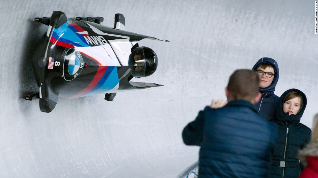 American Elana Meyers Taylor drives a bobsled during a training run in Schonau am Konigssee, Germany, on Wednesday, February 15. The World Championships are taking place there through February 26.