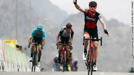 AL BUSTAN, OMAN - FEBRUARY 15:  Ben Hermans of Belgium and the BMC Racing team celebrates winning stage two of the 8th Tour of Oman, a 145.5km road stage from Nakhal to Al Bustan, on February 15, 2017 in Al Bustan, Oman.  (Photo by Bryn Lennon/Getty Images)