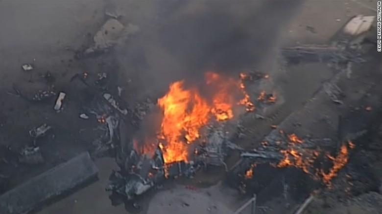 Footage shows Melbourne plane crash aftermath