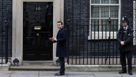 French presidential election candidate arrives outside 10 Downing Street  on February 21, 2017, ahead of his meeting with British Prime Minister Theresa May.