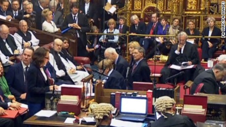 Prime Minister Theresa May in the House of Lords, London, during a debate on the Brexit Bill.