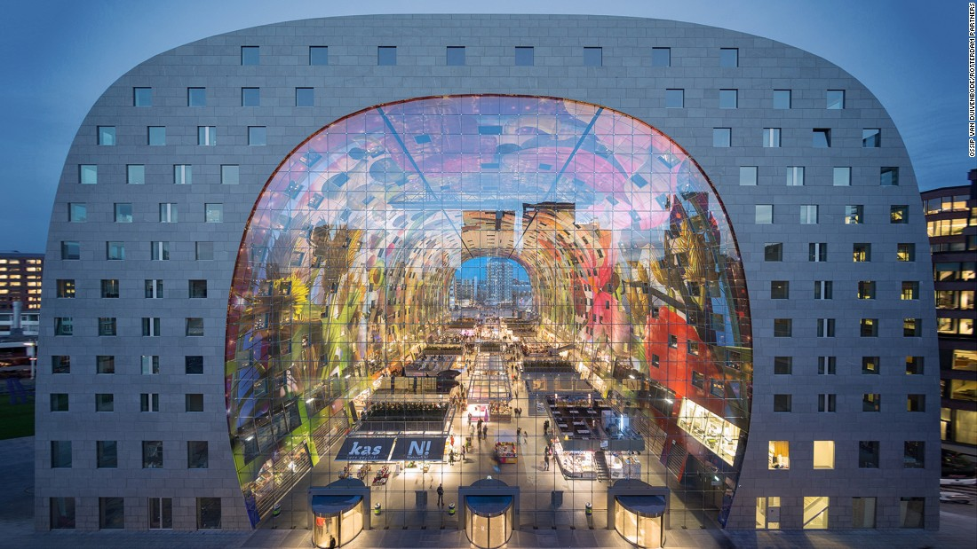 <strong>Is this Europe's coolest city?: </strong>The Netherland's second largest city Rotterdam is experiencing a facelift with innovative crowd funding initiatives and striking new architecture -- including this three-year-old market hall. The covered market was designed by architects MVRDV. It was officially opened by Queen Maxima on 1 October 2014.
