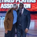 """Earvin """"Magic"""" Johnson and Bill Russell are honored Sunday at the NBA All-Star Game in New Orleans."""