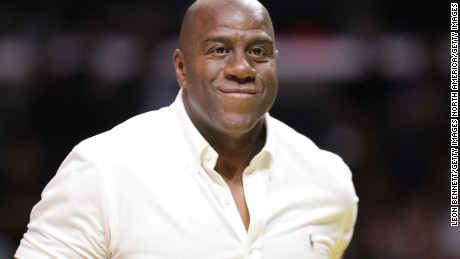 LOS ANGELES, CA - SEPTEMBER 30:  Magic Johnson Retired NBA Player attends Game Two of the Semifinals during the 2016 WNBA Playoffs against the Chicago Sky vs the Los Angeles Sparks at Staples Center on September 30, 2016 in Los Angeles, California.  (Photo by Leon Bennett/Getty Images)