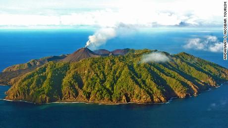 An undated photo of India's Barren Island volcano