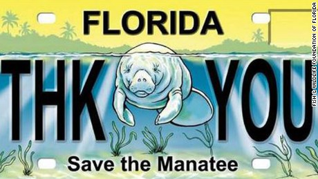 "A sample of the ""Save the Manatee"" plate"