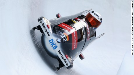 ST MORITZ, SWITZERLAND - JANUARY 09:  Maximilian Arndt and Martin Putze of Germany during a training run for the Men's Bobsleigh event at the Viessmann FIBT Bob & Skeleton World Cup at Olympia Bob Run on January 9, 2014 in St Moritz, Switzerland.  (Photo by Alex Livesey/Getty Images)