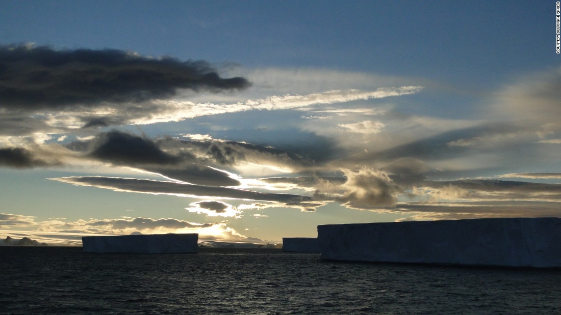 A show of icebergs and light at 11pm in Antarctica.