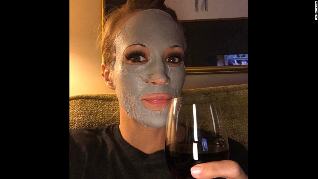 "Country music star Carrie Underwood has a glass of wine while wearing a beauty mask on Saturday, February 11. ""Evening activities,"" <a href=""https://www.instagram.com/p/BQW_BwZDIlU/"" target=""_blank"">she said on Instagram.</a>"