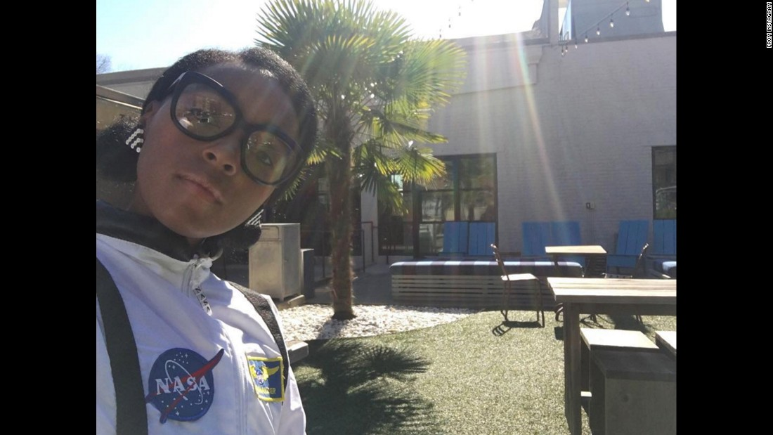 """I hear @Nasa girls are down to Earth,"" <a href=""https://www.instagram.com/p/BQgVeN0gkMA/"" target=""_blank"">singer Janelle Monae said on Instagram</a> on Tuesday, February 14. Monae recently starred in the film ""Hidden Figures,"" playing Mary Jackson, NASA's first black female engineer."