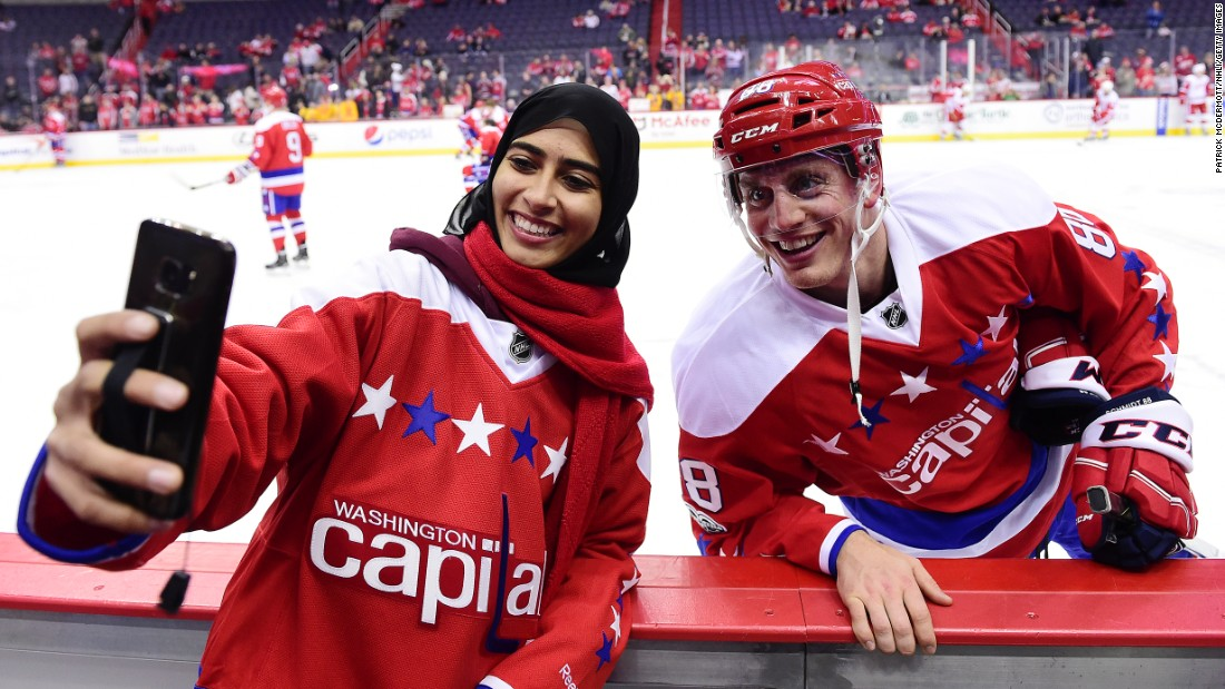 "Fatima Al Ali, a hockey player from the United Arab Emirates, takes a selfie with Nate Schmidt before a NHL game in Washington on Thursday, February 9. Al Ali was a guest of the Washington Capitals, her favorite team, and <a href=""https://www.washingtonpost.com/news/dc-sports-bog/wp/2017/02/08/when-a-uae-woman-skates-with-the-capitals-theyre-just-talking-about-hockey/"" target=""_blank"">she even got to practice with them.</a>"