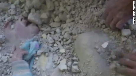 syrian girl rubble rescue