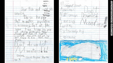 "Christopher Burke, 9, pleaded for officials to keep the current status: ""I'm so happy that manatee population is increasing! But at the same time hopping you will not stop protecting them! Please don't down list manatees. I LOVE manatees and got my best friend to love them too."""