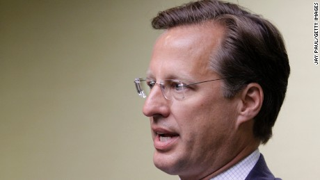 Rep. Dave Brat speaks to the press at the Midlothian Rotary Club breakfast at the Double tree Hotel, June 17, 2014 in Richmond, Virginia.