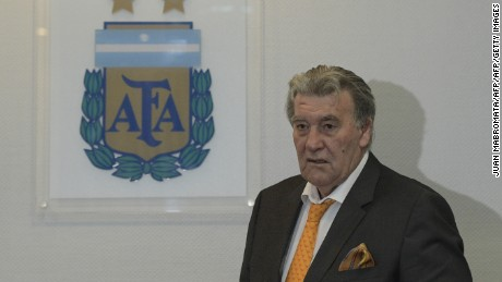 Argentina's Football Association (AFA) acting president, Armando Perez, arrives to a meeting with the international media at the AFA headquarters in Buenos Aires on September 12, 2016. / AFP / JUAN MABROMATA        (Photo credit should read JUAN MABROMATA/AFP/Getty Images)
