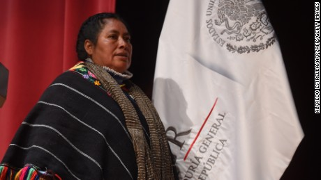 Hnahnu indigenous woman Jacinta Francisco prepares to deliver a speech during the act of recognition of innocence and public apology of the General Attorney's Office to the Hnahnu indigenous women at the Anthropology Museum in Mexico City on February 21, 2017.  The General Attorney's Office offered an historic apology to three Hnahnu indigenous women accused in 2006 of having participated in the kidnap of six agents of the disappeared Federal Agency of Investigation (AFI) and unfairly imprisoned for three years. During the event the women and their families expressed their discontent with the late redress. / AFP / ALFREDO ESTRELLA        (Photo credit should read ALFREDO ESTRELLA/AFP/Getty Images)