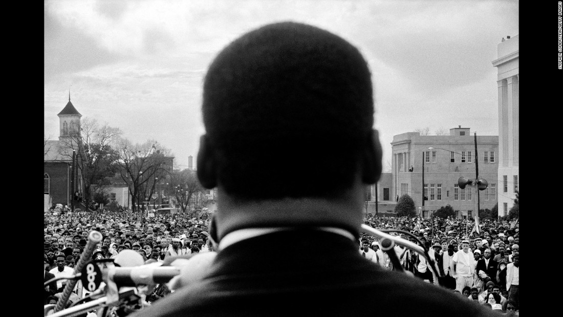 The Rev. Martin Luther King Jr. speaks to protesters in Montgomery, Alabama, on March 25, 1965. About 25,000 people had marched there from Selma, Alabama, to protest discriminatory practices -- such as poll taxes and literacy tests -- that prevented many black people from voting in the South. It was the last of three marches that month.