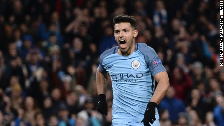 Manchester City's Argentinian striker Sergio Aguero celebrates scoring their second goal during the UEFA Champions League Round of 16 first-leg football match between Manchester City and Monaco at the Etihad Stadium in Manchester, north west England on February 21, 2017. / AFP / Oli SCARFF        (Photo credit should read OLI SCARFF/AFP/Getty Images)