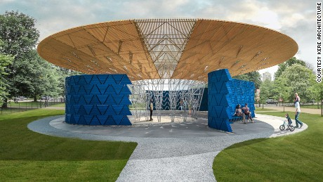 Francis Kéré's structure for the 2017 Serpentine Pavilion to be built in June.