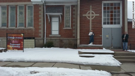 The Jesus statue stands outside the Cottage Avenue Pentecostal Fellowship before the vandalism.