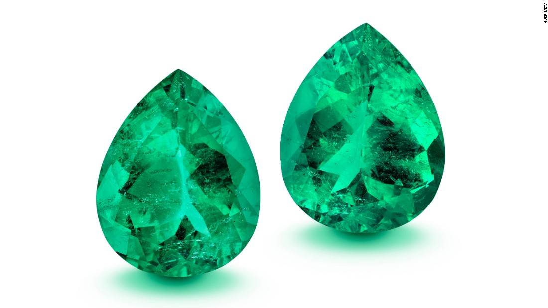 These teardrop-shaped Muzo emeralds carry a total weight of nearly 100 carats. Matching pairs of emeralds of this shape and size are extremely rare.