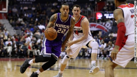 WASHINGTON, DC - NOVEMBER 28: Matt Barnes #22 of the Sacramento Kings dribbles the ball in front of Jason Smith #14 of the Washington Wizards at Verizon Center on November 28, 2016 in Washington, DC. NOTE TO USER: User expressly acknowledges and agrees that, by downloading and or using this photograph, User is consenting to the terms and conditions of the Getty Images License Agreement.  (Photo by Rob Carr/Getty Images)