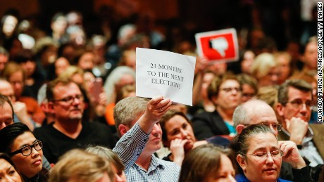 People listen as New Jersey Republican Congressman Leonard Lance speaks during a town hall meeting at Raritan Valley Community College on February 22, 2017 in Branchburg, New Jersey, where attendees demanded answers on health care.