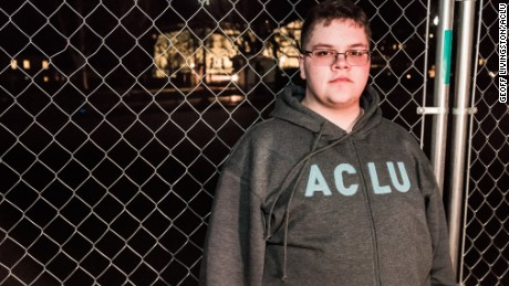 Gavin Grimm poses at an ACLU protest outside the White House in this undated photo.