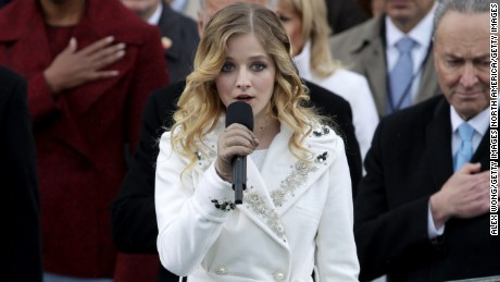 WASHINGTON, DC - JANUARY 20: Former president Barack Obama places his hand on his heart as Jackie Evancho sings the national anthem on the West Front of the U.S. Capitol on January 20, 2017 in Washington, DC. In today's inauguration ceremony Donald J. Trump becomes the 45th president of the United States.  (Photo by Alex Wong/Getty Images)