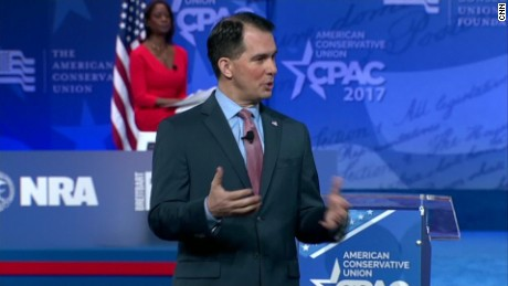Scott Walker appearing at CPAC.