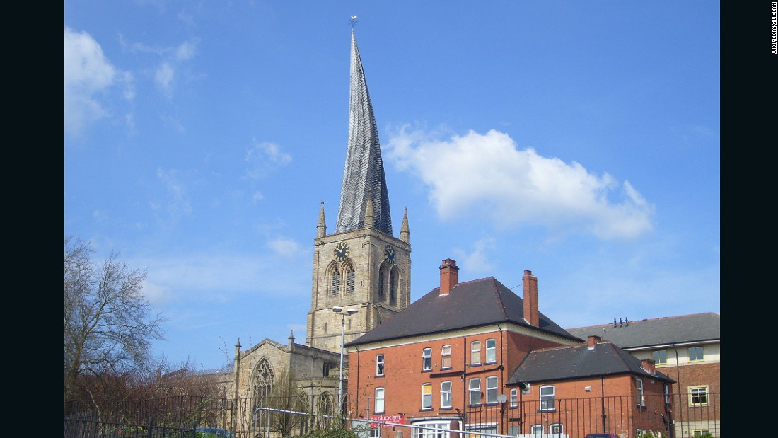 "Leaning 9.5 feet (2.9 meters) from its center, the ""<a href=""http://derbyshirechurches.org/church/chesterfield-st-mary-all-saints"" target=""_blank"">Crooked Spire Church</a>"" as it's also known was built at the end of the 13th century and completed around 1360. Although designed to be straight, it is thought that the lead weights used to cover the spire caused its green timber frame to warp and lean."