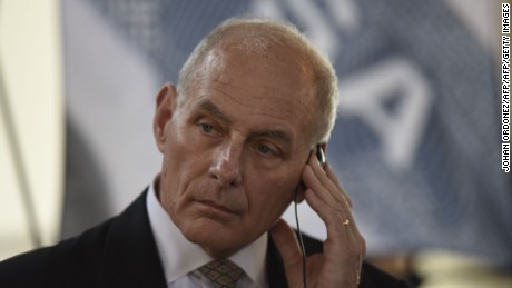US Secretary of Homeland Security John Kelly listens to questions during a press conference at the end of a two-day visit to Guatemala, at the Guatemalan Air Force base in Guatemala City on February 22, 2017.  Kelly arrived in Guatemala to discuss migration and trade. He will then head to Mexico to join up with US Secretary of State Rex Tillerson seeking to ease diplomatic tensions over President Donald Trump's trade and immigration policies. / AFP / JOHAN ORDONEZ        (Photo credit should read JOHAN ORDONEZ/AFP/Getty Images)