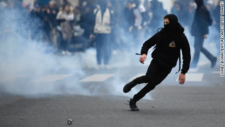 A protest in Paris over allegations of police brutality in February.