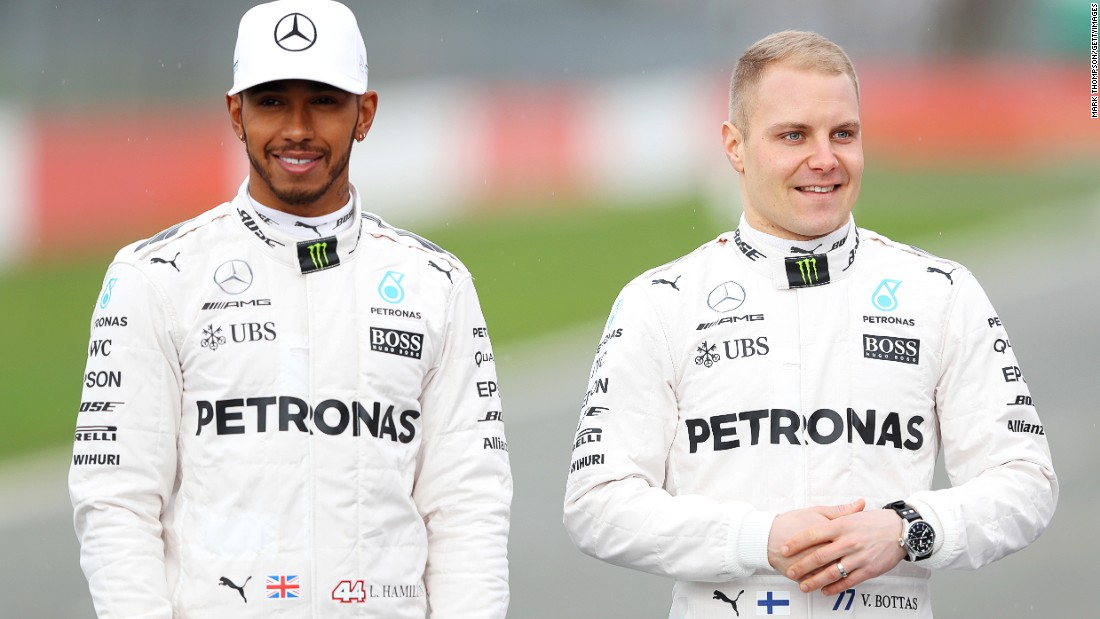 Hamilton is joined by Bottas -- the Finn replaces reigning world champion Nico Rosberg, who retired a few days after clinching the 2016 title at the season-ending Abu Dhabi Grand Prix.