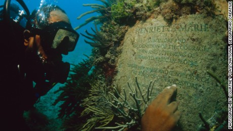 Michael Cottman at the underwater memorial, which honors the African lives lost during the passages of the Henrietta Marie slave ship.