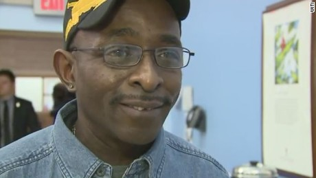 Military veteran gets keys to new home.